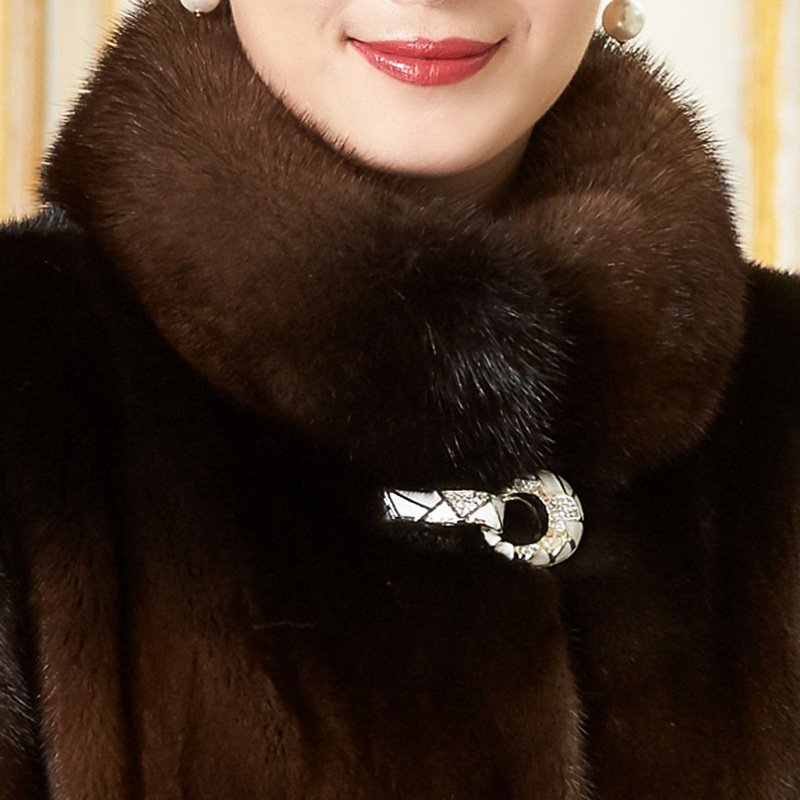 Mink Fur Genuine Leather Overcoat Women Mid Length Full Mink Fur Coat Autumn Real Fur Winter Coat Luxury Thick Warm Outwear