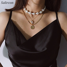Salircon Elegant Temperament Imitation Pearl Beaded Necklace Circular Geometric Chain 3p/c Ladies Accessories Choice