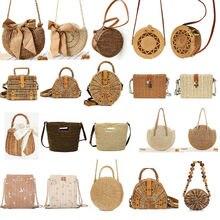Women Handbag Crossbody Bags Retro Wicker Totes Summer Holiday Beach Straw Woven Rattan Basket Bag Shoulder Messenger Bags