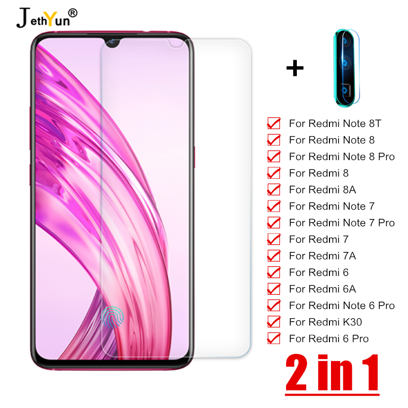2 In 1 Tempered Glass For Xiaomi Redmi Note 6 7 8 Pro 8T Screen Protector Redmi K30 5G 6 7 8 6A 7A 8A Camera Protective Lens