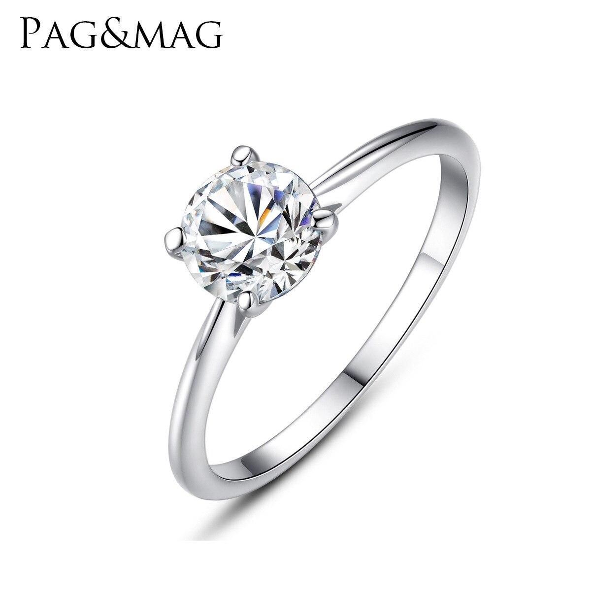 PAG & MAG S925 bague de fiançailles en argent Sterling 6mm huit coeur huit flèche zircon bague de mariage sr0008