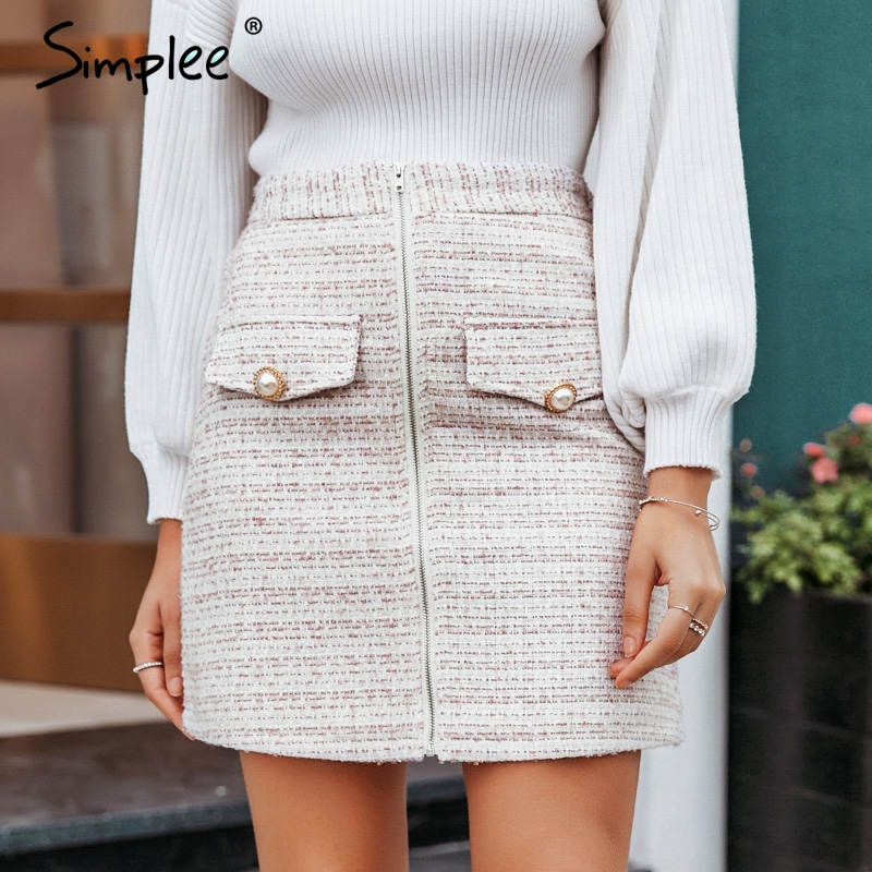 Simplee Elegant High Waist Women Plaid Skirt Pearl Button Pockets Autumn Winter Female Skirts A-line Zippers Ladies Mini Skirts