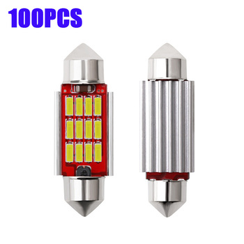 100pcs Interior Lamp for Audi BMW Car LED White Festoon Dome 31mm 36mm 39mm 41mm LED Bulb C5W C10W 4014 12SMD Canbus Error Free