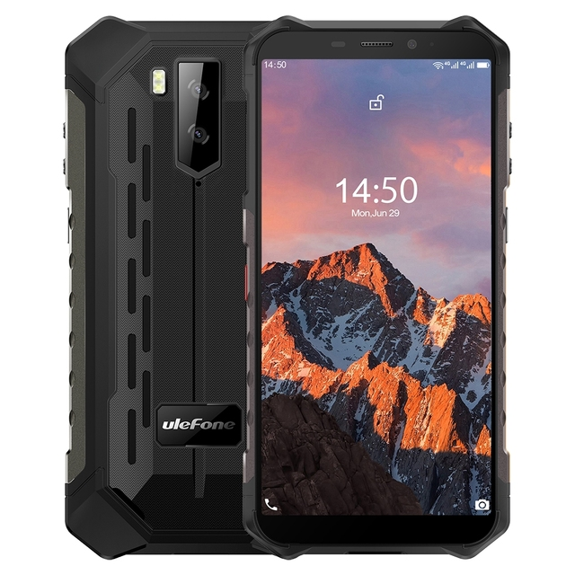 Ulefone Armor X5 Pro Rugged Waterproof Smartphone 4GB+64GB Octa Core Android 10.0 Cell Phone NFC 4G LTE Mobile Phone 5000mAh 1