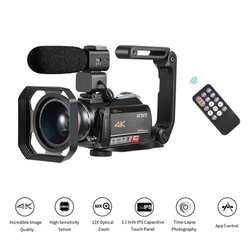 ORDRO AC5 4K WiFi Digital Video Camera Camcorder Recorder DV 24MP 3.1 Inch IPS Pressscreen 12X Optical Zoom Time-Lapse Face Dete