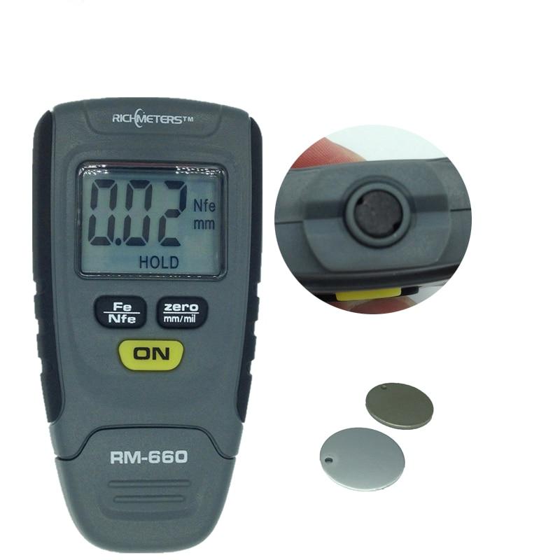 Digital Coating Thickness Gauge 0-1.25mm Paint Coating Meter Car Thickness Meter Tester Iron Aluminum Base Metal RM660