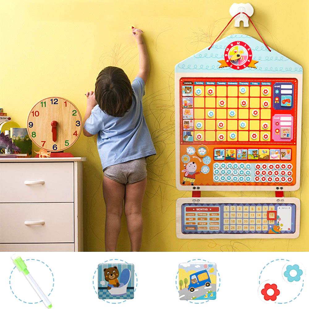 Wooden Educational Toys Magnetic Reward Activity Responsibility Table Calendar Children Timetable Children's Educational Toys