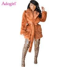 Adogirl 2019 Winter Faux Fur Women Coat Solid 5 Colors Turn Down Collar Long Sleeve Pockets Soft Fleece Jacket Warm Outerwear