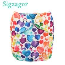 Sigzagor-pañal de tela con bolsillo para bebé, ajustable, reutilizable, lavable, mcropolar, interior, 3kg-15kg, 8lbs-36lbs