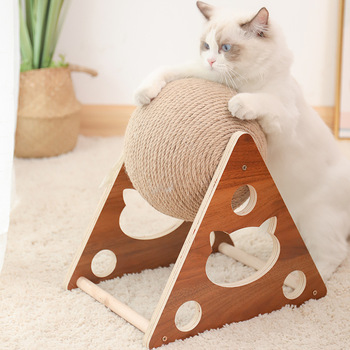 Cat Scratcher Sisal Rope Ball Cat Scratching Post Wood Stand Anti-Scratch Toy For Cats 1