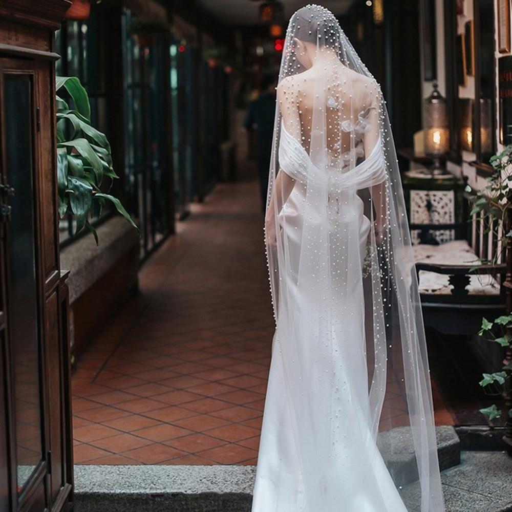 2M Length Pearls Wedding Veil Tulle 1T White Bridal Veil Elegant Bride Veil Ivory Bridal Party Veils With Comb