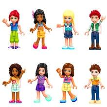 Criador bloco de construção 8 pçs/set amigos menina princesa olivia mia kate stephanie dancet figuras tijolos brinquedos presente para as crianças