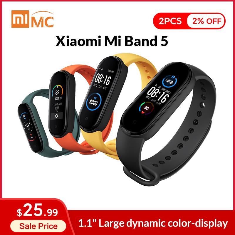 Pulsera inteligente Xiaomi Mi Band 5, reloj inteligente deportivo resistente al agua con Pantalla AMOLED de 1,1 pulgadas y control del ritmo cardíaco, Bluetooth 5,0