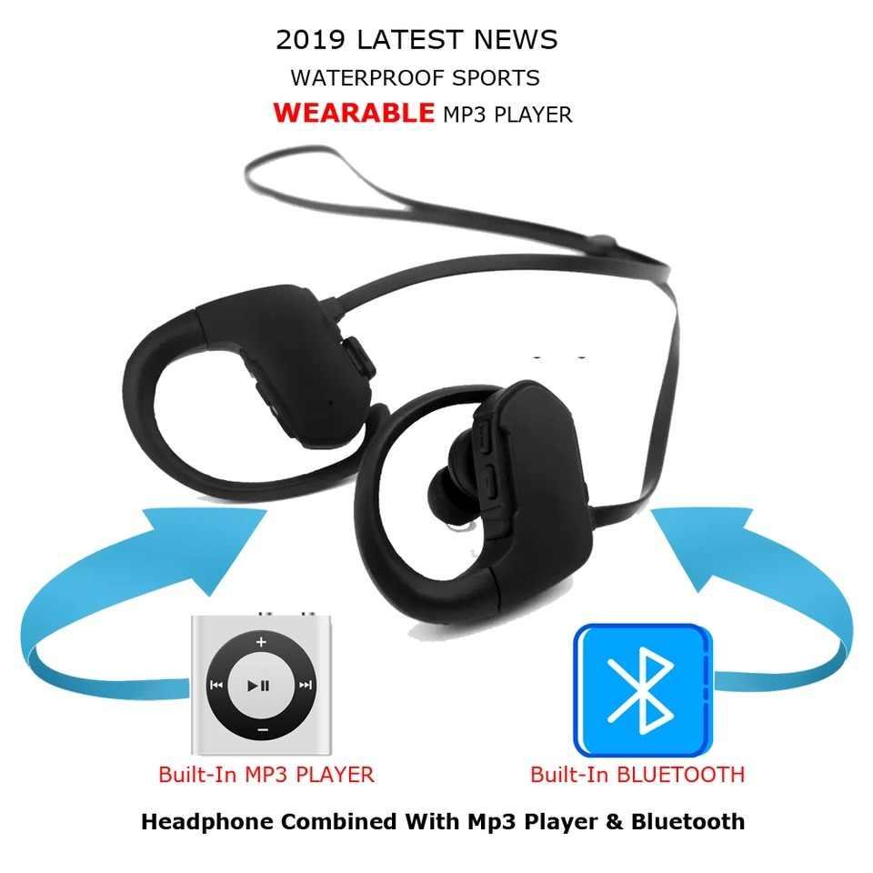 IPX8 prawdziwe wodoodporna Bluetooth bezprzewodowe zestawy słuchawkowe Bluetooth słuchawki douszne dla pływanie, pod wodą, basen, sport, bieganie, siłownia