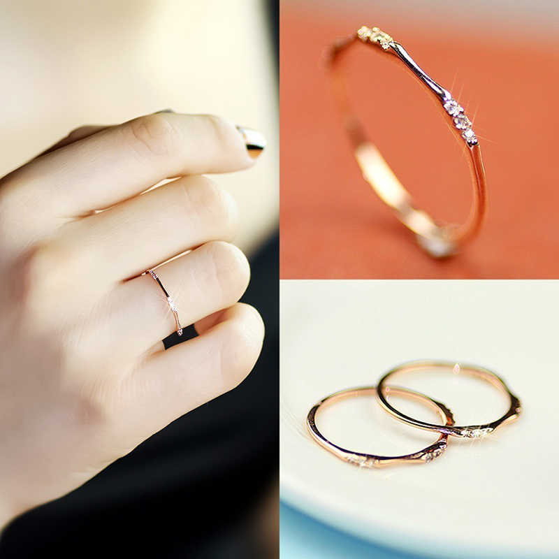 Tisonliz Dainty Thin Small Crystal CZ Stackable Rings Bridal Rings Wedding Engagement Rings For Women Anniversary Gifts Jewelry