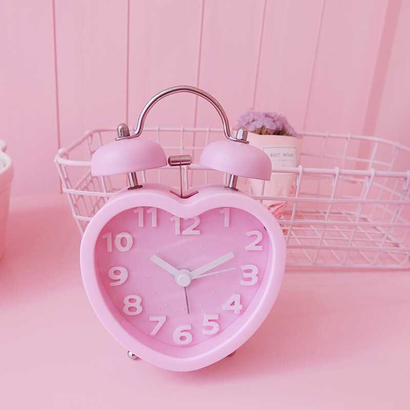 Silent Alarm Clock Double Bell Digital Display Classic Quartz Alarm Clock Alarm Clock Heart-Shaped Gift Desktop Lazy Person
