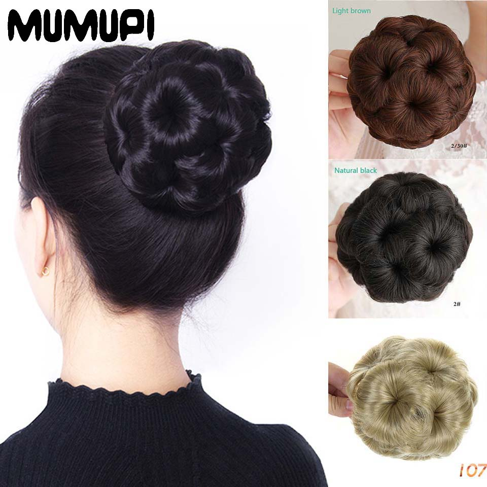 MUMUPI 9 Flowers Claw Chignon Accessories Bride Fake Plate Bun Natural Hairpiece Updo Curly Synthetic Extension Styling Tools