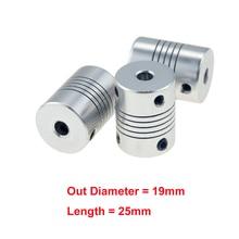 1 шт. 5x8 мм CNC двигатель челюсти вал муфта 5 мм до 8 мм гибкая муфта OD 19x25 мм дропшиппинг 3/4/5/6/6,35/7/8/10 мм