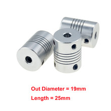 1pcs 5x8mm CNC מוטורי לסת פיר מצמד 5mm כדי 8mm גמיש צימוד OD 19x 25mm סיטונאי Dropshipping 3/4/5/6/6.35/7/8/10mm(China)