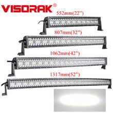 VISORAK 22 32 42 52 inç kavisli Offroad LED iş lambası şeridi 4WD 4x4 traktör SUV ATV LED çubuk pikap için SUV ATV kamyon Off road