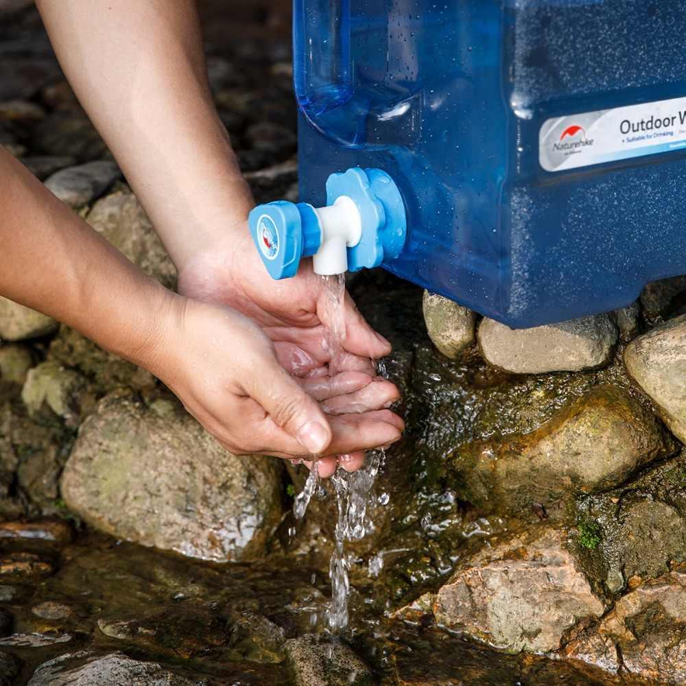 NaturehikeเกรดอาหารPCน้ำกลางแจ้งขนาดใหญ่ความจุถังน้ำเดินป่าตั้งแคมป์ถังน้ำก๊อกน้ำ