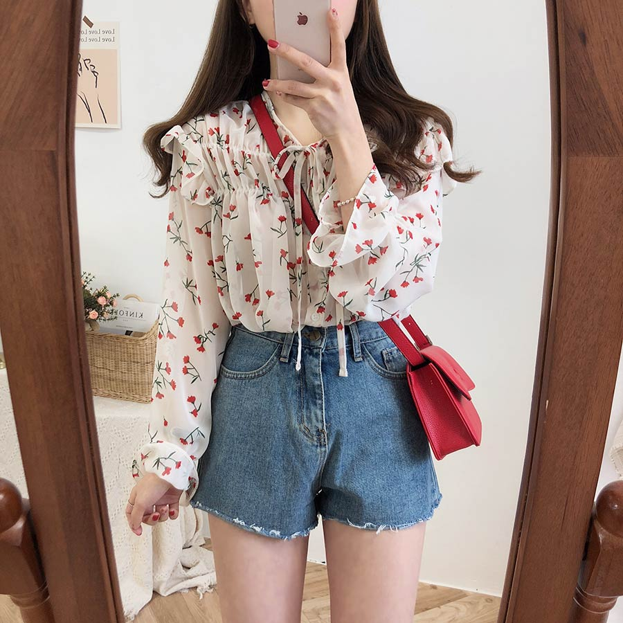 Hb764812822e94a71ab18aef809ab4635B - Spring / Autumn Lace-Up Collar Long Sleeves Floral Print Blouse