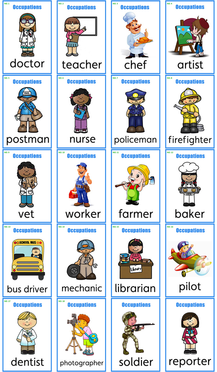 30pcs Job English Word Card For Kids Baby Educational Toys