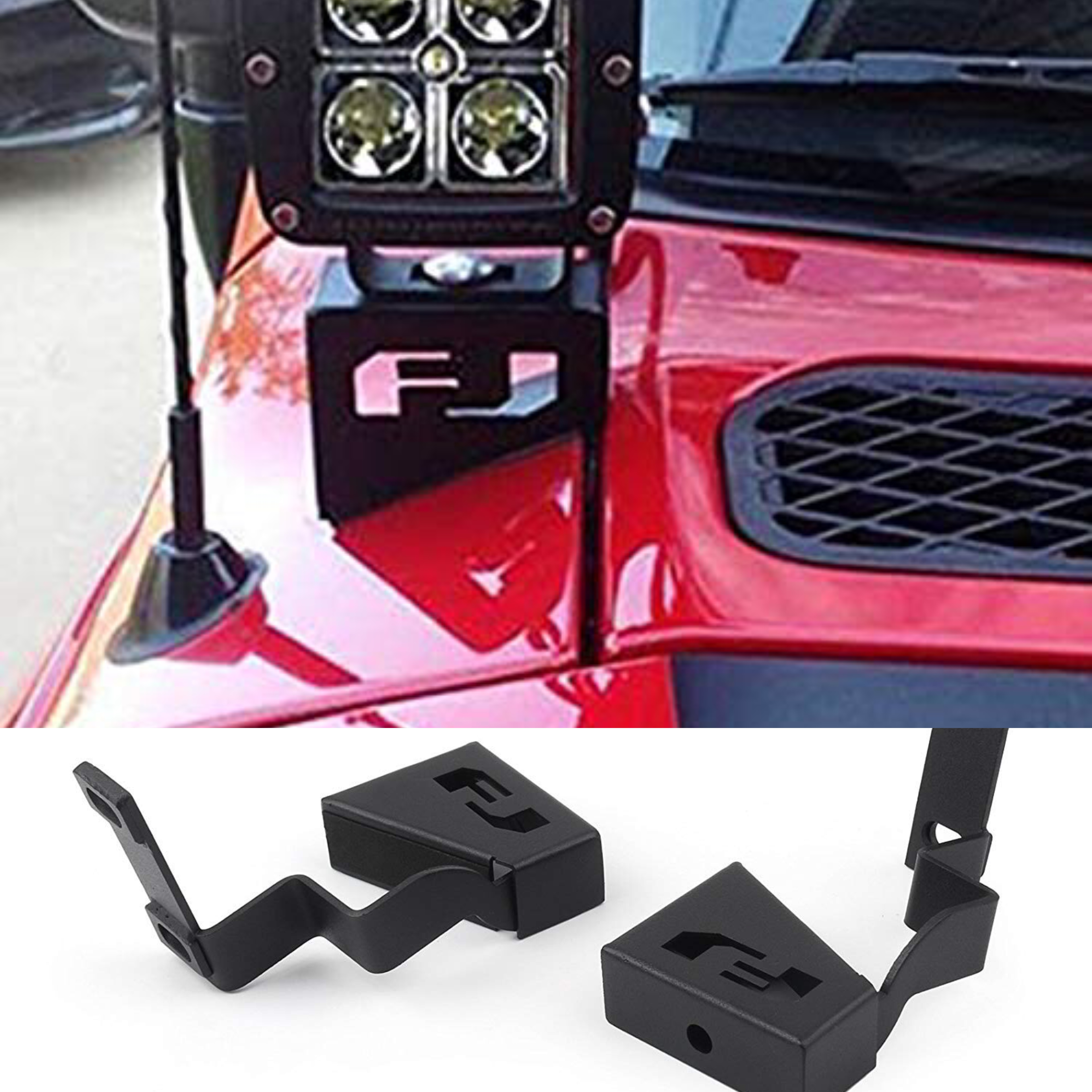 Car Cubic Spot Beam Led Front Cowl Light Kit With Windshield Pillar Steel Mounting Brackets For Toyota Fj Cruiser 2007-2016