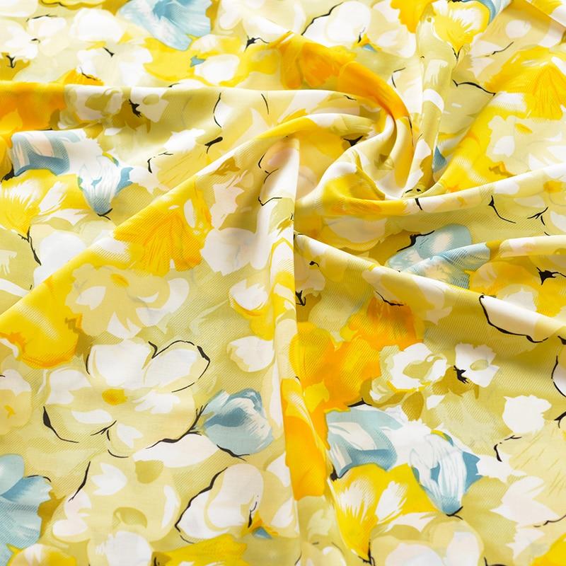 100cm*140cm Yellow Flower Rayon Fabric Soft Viscose Material For Dress Shirt