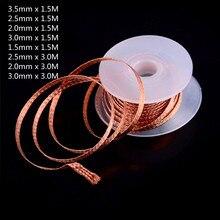 Удаление припоя оплетка сварка припой 2,0 мм 2,5 мм 3,5 мм длина 1,5 м ширина съемник провод вывод шнур флюс ремонт инструмент