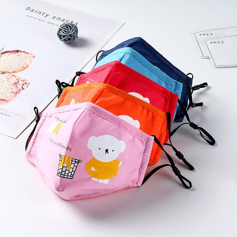 Cotton PM2.5 Children Kids Masks Respiratory Valve Cartoon Face Mask For Girls Boys Warm Dust Mask Fits 2-10 Years Old Kids
