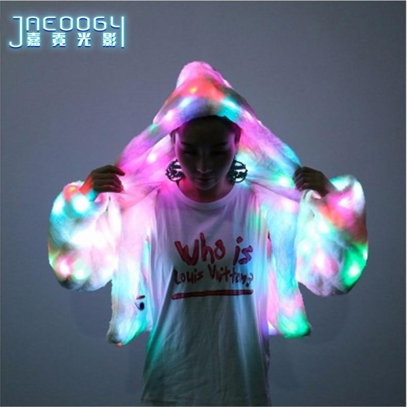 Livraison gratuite LED vêtements luminescents femmes chandail manteau bar nuit boutique équipe danse performance couleur fluorescente vêtements