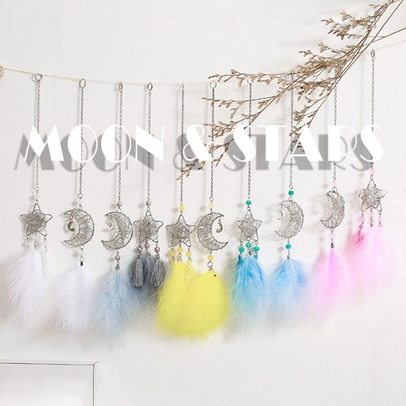 Pena presente feito à mão carro pendurado decoração de casa decoração de suspensão de parede oco estrela lua colorida pena pendurado decoração 1 - 6
