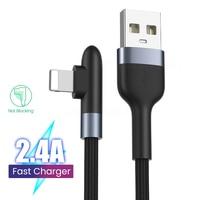 90 grados USB Cable de carga para iPhone 12 11 Pro Max X XR XS 8 7 6s 5 s iPad Nylon 2.4A de carga rápida Cable de datos del cargador/0,3/1/2M