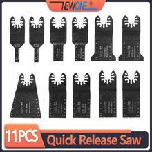 Newone 11 pçs de madeira metal plástico oscilante multi ferramenta liberação rápida lâminas serra apto para dewalt fein multimaster bosch dremel