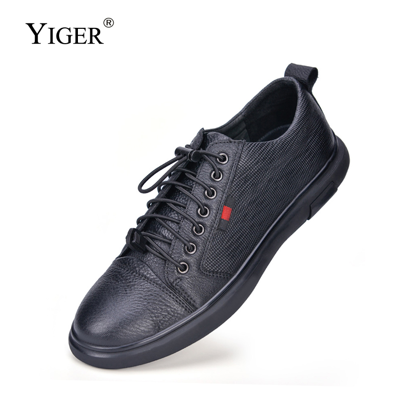 YIGER New Men's Loafers Genuine Leather Man Casual Flat Shoes Male Leisure Elastic Band Non-slip Shoes Spring Black Design Style