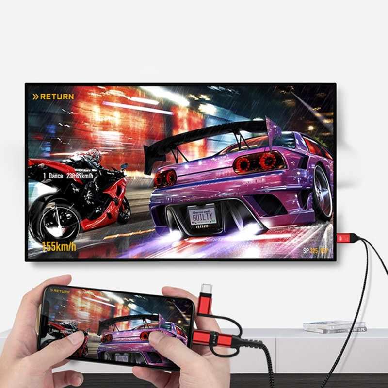 マイクロusbタイプcのandroid ios電話hdmiケーブル 3in1 アダプタ 2 18k 1080 1080pビデオコンバータのiphone xs最大xrサムスンS8 S9 S10 にテレビ