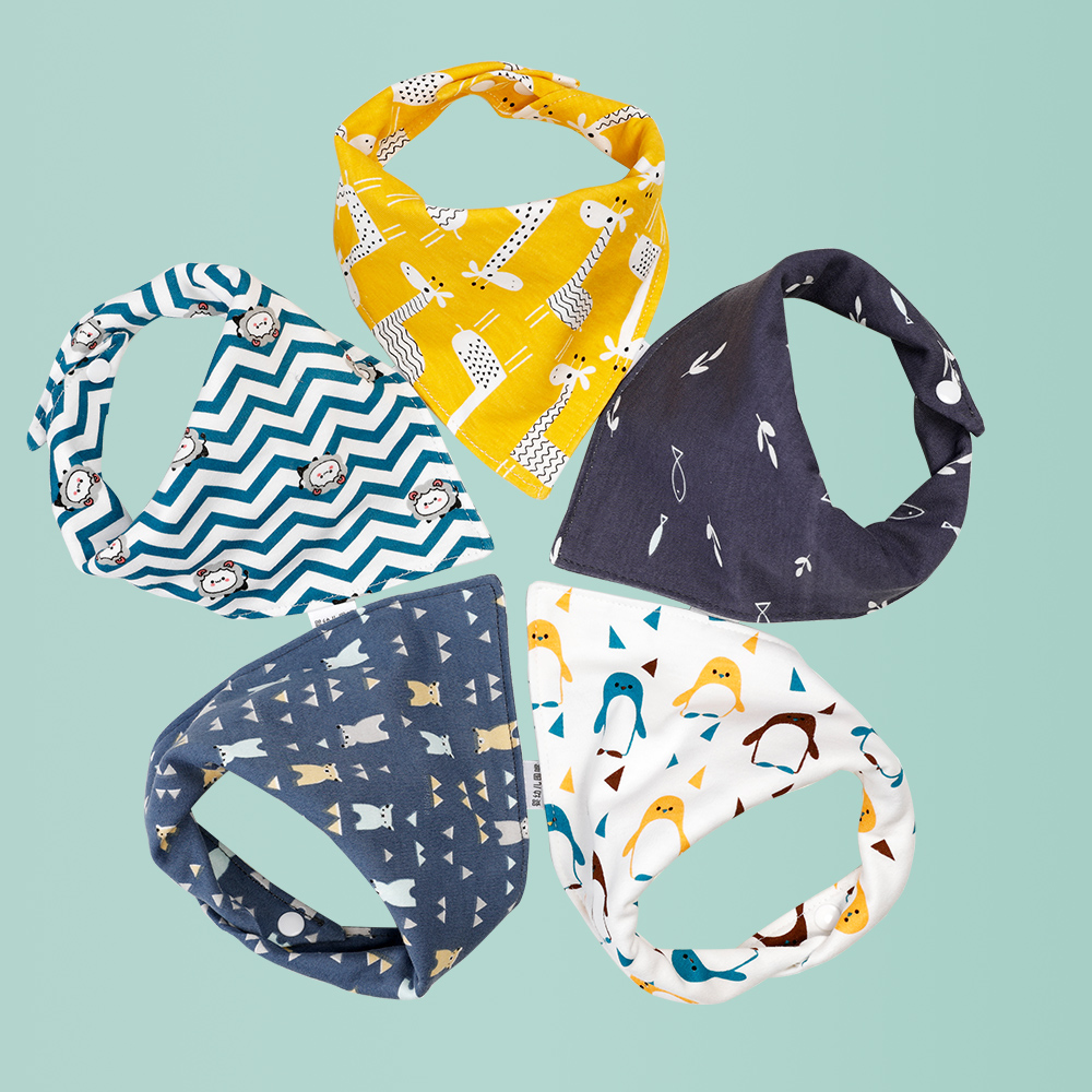 Baby Bandana Dribble Bibs Soft Cotton Infant Boys Girls Drool Bibs Super Absorbent with Adjustable Snaps for Baby Newborn Feeding and Drooling 5 Pack Pink Bohemia