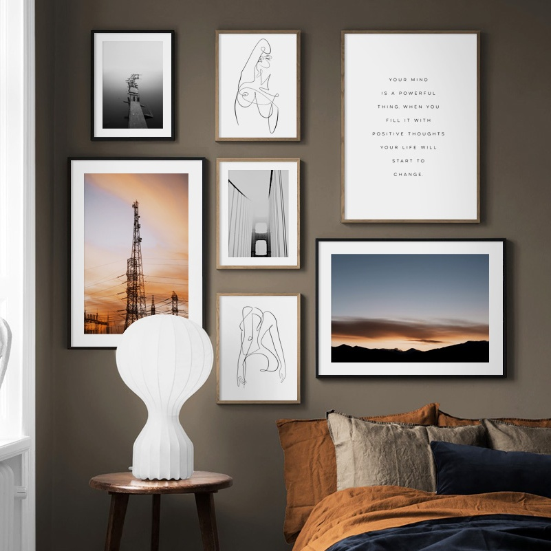 Vintage Poster Abstract Line Wall Art Canvas Prints Pictures Nordic Room Decor
