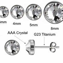 Rare metal Titanium Stud Earrings for Men Women Girls 12 Colors Simple Crystal Earring Silver Color Ear Piercing Jewelry