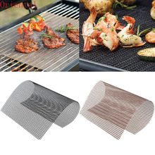 2021New 3Color Ptfe Non-stick BBQ Grill Pad Barbecue Baking Pad Reusable Cooking Plate 40*33cm For Party Grill Mat Tools