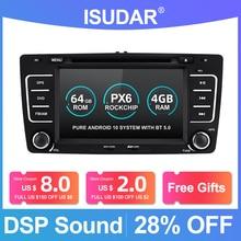 Isudar PX6 2 Din Android 10 Auto Radio For SKODA/Yeti/Octavia 2009 2010 2012 Hexa Core RAM 4G Car Multimedia DVD Player GPS DVR