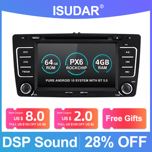Image 1 - Isudar PX6 2 Din Android 10 Auto Radio For SKODA/Yeti/Octavia 2009 2010 2012 Hexa Core RAM 4G Car Multimedia DVD Player GPS DVR