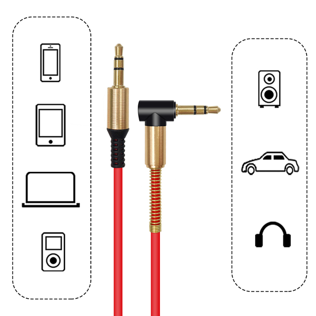 3.5 Jack AUX Audio Cable 3.5MM Male to Male Cable For Phone Car Speaker MP4 Headphone 1.8M Jack 3.5 Spring Audio Cables 5