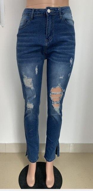 модные синие джинсовые брюки ecoine облегающие джинсы с вырезами фотография