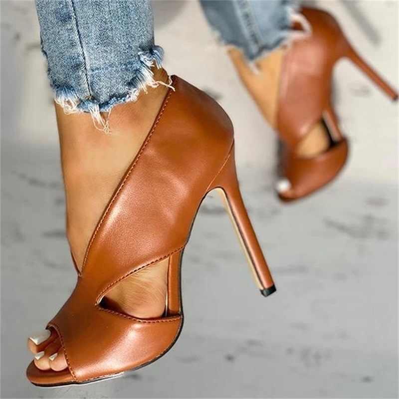 Yaz ayakkabı ayakkabı 2020 moda katı renk rahat burnu açık süper yüksek topuk balık kafası pompaları boyutu 34-43 kadın PU sandalet