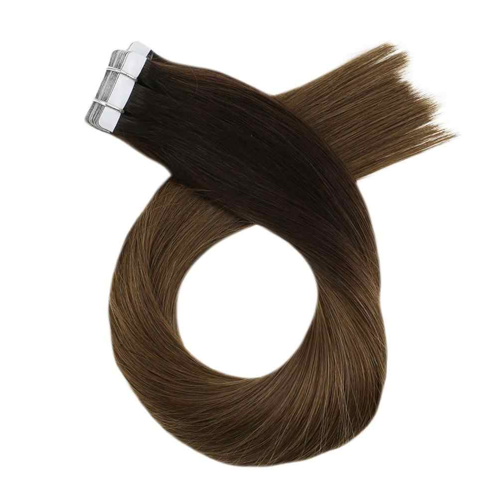 Moresoo 14-24 inch Tape in Human Hair Extensions Ombre Color Real Hair Machine Remy Adhesive Brazilian Hair 2.5g/pc 25g-100g