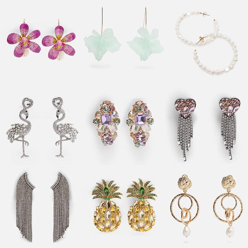 Ztech Za 2019 New 32 Bohemian Crystal Pearl Shell Earrings For Women Unique Design Wedding Jewelry Flowers Drop Dangle