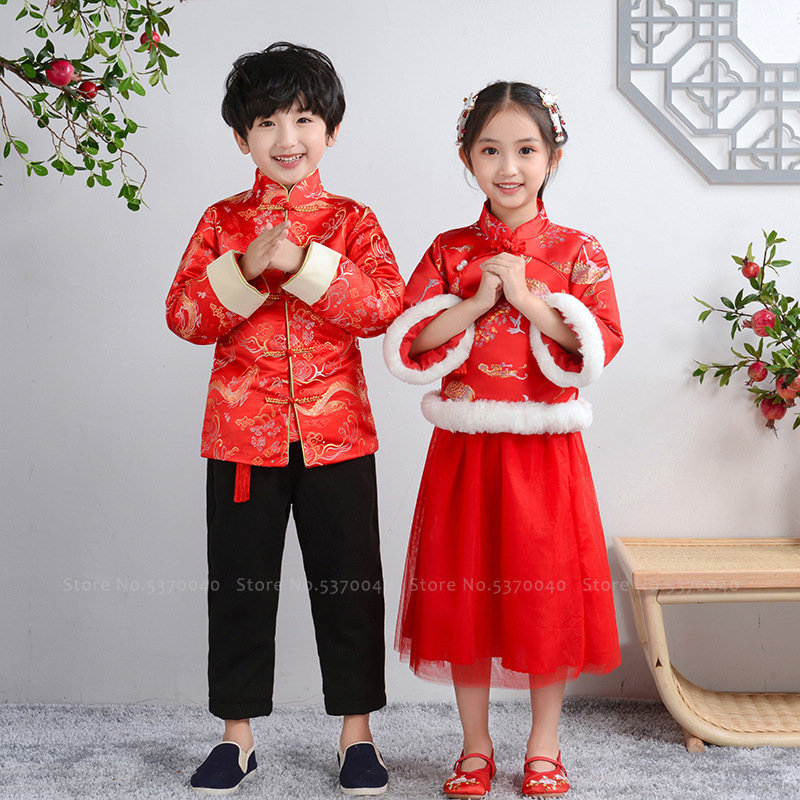 Winter Boys Dragon Embroidery Tang Suit Girls Dress Crane New Year Festival Outfits Qipao Chinese Traditional Hanfu Costume Sets