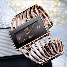 Прямоугольные большие часы женские открытые широкие браслеты